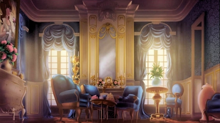 Palace Room - windows, furniture, table, daylight, flowers, armchair, clock, candles, digital