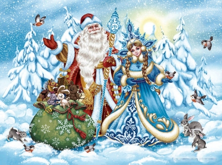 St. Nicholas coming - snow, painting, rabbits, birds, helper, winter, gifts, artwork