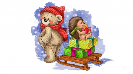 Teddy Sledding - holiday, snow, hedgehog, presents, teddy bear, sled, winter, gifts