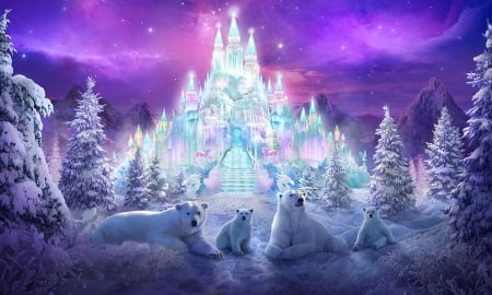 Fantasy Crystal Castle - winter, enchanting, ice palace, polar bears, magical, pine trees, crystal, Fantasy