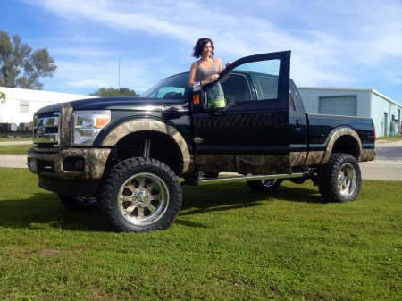 ford f250 - grass, girl, pick up, ford