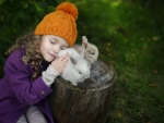 Little Girl and Rabbits