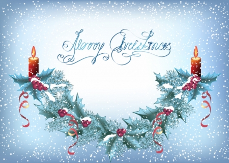 Merry Christmas - snow, berries, merry christmas, ribbon, Candles, holly