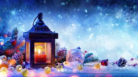 Christmas decoration - lantern, holiday, christmas, decoration, arrangement, frost, winter, candle, beautiful, snow