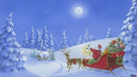Santas off in the moonlite - sant, winter, sliegh, snow, mmonlite, off