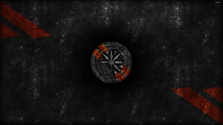 Black rock - black, technology, wall, abstract, 2019, grunge, texture, dark, new, bright, colorful, artistic, brand, red, black corp, colourful, orange, emblem, shunya