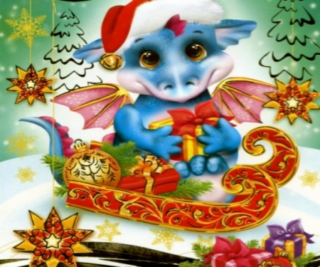 Dragon Christmas - Fantasy, Sleigh, Dragon, Christmas, Abstract, Wings