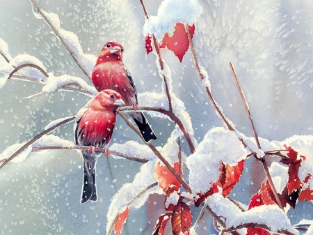 Birds in snow - painting, art, birds, snow