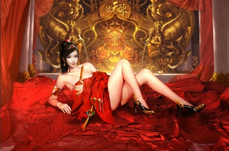 Oriental Boudoir - pretty, red, art, fantasy, girl, digital, woman, boudoir, wallpaper