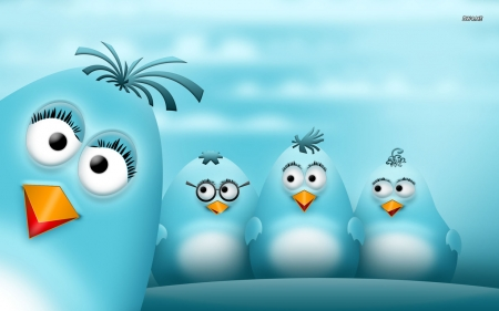 Mama an Her Baby Blue Birds - arts, silly, digital, mama, three, birds, baby, blue