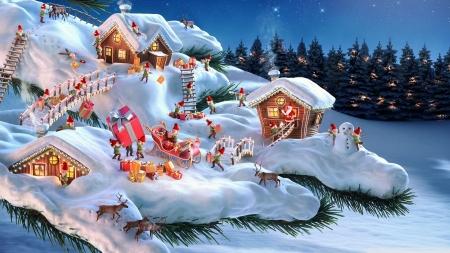 Christmas Land.Mini Christmas Land Fantasy Abstract Background