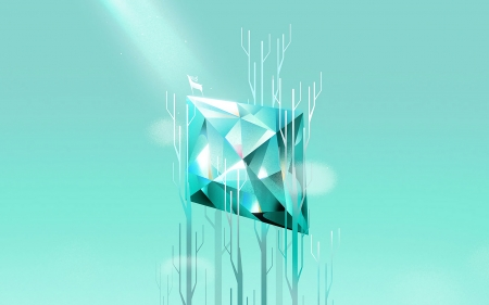 Abstract - forest, guihuahuzi, fantasy, geometric, abstract, blue, deer, diamond