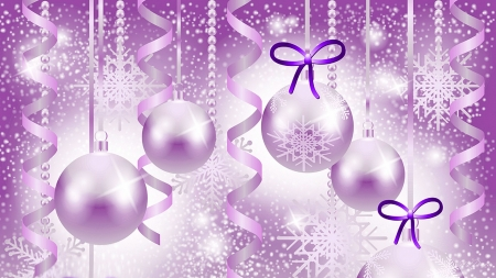 Pink Purple Shine - ribbons, pink, Firefox theme, Christmas, Feliz Navidad, holiday, New Year, shine, lavender, purple, balls, snowflakes, decorations