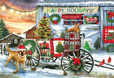 Holidy Wagon - christmas, snow, painting, store, artwork, winter, dog, christmas tree, cat, cardinals