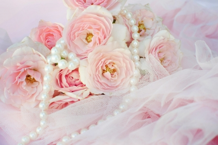 Pearls and roses - photography, pearls, roses, elegant