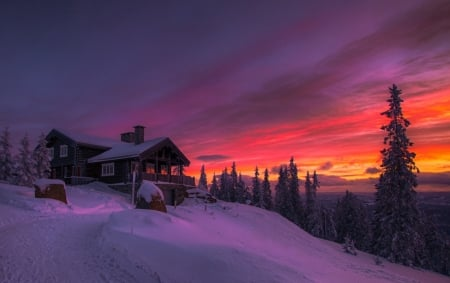 Winter Sunset in Norway - sunset, beautiful, norway, skies, nature, winter