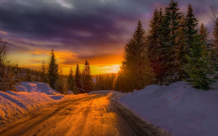 On a Winter Road - snow, norway, winter, sunset, nature, road
