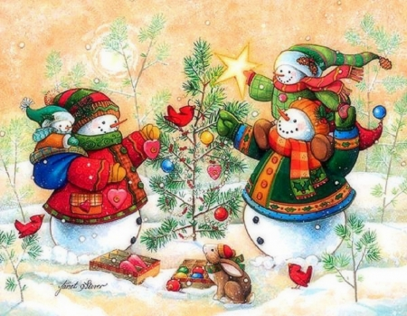 Snowman Family Decoration the Tree - family, mittens, tree, christmas, decoration, scarf, snowman, hat