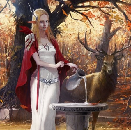 Galadriel - forest, red, art, hobbit, autumn, park pyeongjun, cerb, luminos, elf, deer, galadriel, water, fantasy, girl, lotr, white