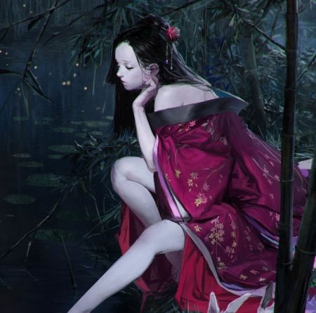 Geisha - bunny, pink, kimono, art, park pyeongjun, luminos, geisha, moon, fantasy, girl, asian, night