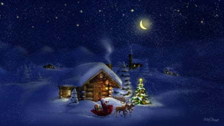 North Pole Night - North Pole, cabins, night, winter, blue, Firefox theme, Christmas, Santa Claus, trees, moon, snow, reindeer