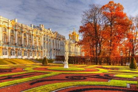 Catherine Palace and Park, Pushkin - garden, building, autumn, castle, trees