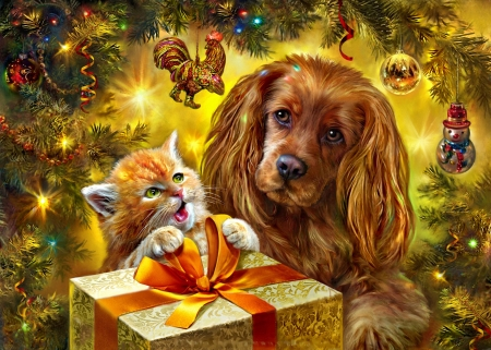Holiday Surprise - gifts, kitty, dog, christmas, painting, parcel