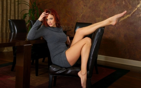 Hot Red Head - leather chairs, bare feet, plant, dyed, red hair, oak table, grey short dress, long legs