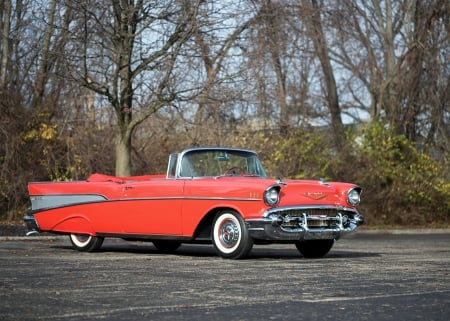 1957 chevrolet bel air convertible - convertible, car, bel air, chevrolet, grass