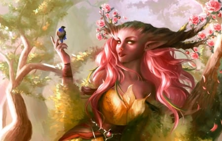Druidess - girl, bird, pasare, flower, spring, pink, art, sakura, druidess, luminos, fantasy