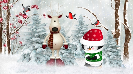Winter Buddies - reindeer, winter, deer, Firefox theme, forest, Christmas, holiday, penguin, birds, trees, finch, cute, snow