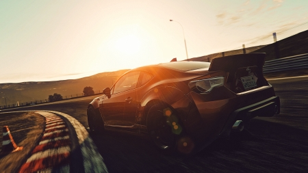 Race car at sunset - sunset, motion blur, race car, car, motion