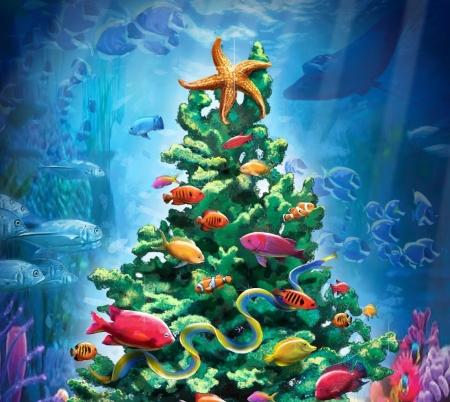 Tropical Christmas.Tropical Christmas Fantasy Abstract Background