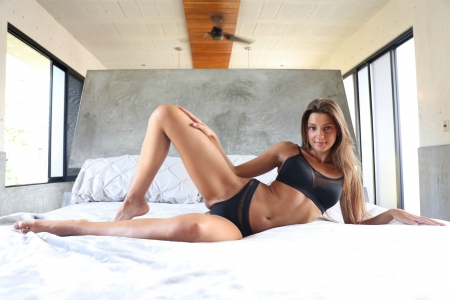 Maria Ryabushkina - brunette, model, bed, bikini