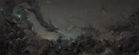 Dragon - dark, art, fantasy, luminos, black, zhihui su, dragon, attack