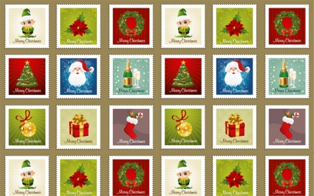 Christmas Stamp Pattern - pattern, Christmas, vector, stamps