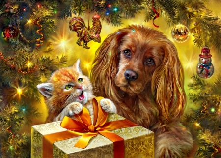 A Present For Me? - present, christmas, dog, Cat, ornaments