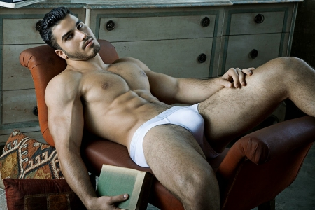 relaxed - shirtless, male model, sexy, laying, underwear