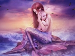 Mermaid With Her Baby