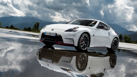 2018 Nissan 370Z Nismo - cars, white cars, front view, nissan, vehicles, nissan 370z nismo, reflection