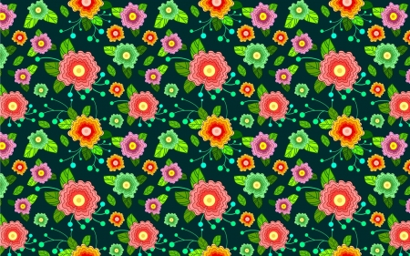 Colorful Flowers - pattern, colorful, flowers, vector