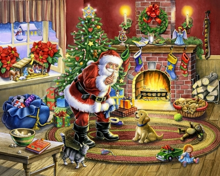 Cozy Christmas - decoration, painting, snowman, artwork, chimney, puppy, winter, tree, santa, snow