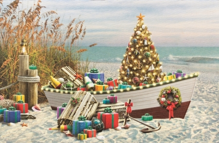 Nautical Christmas - beach, boat, tree, painting, artwork, lights, sea, gifts