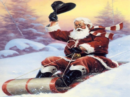 JOY RIDIN' SANTA - SLEIGH, HAT, WINTER, SANTA, SNOW, HOLIDAY, RED, SUIT, CHRISTMAS