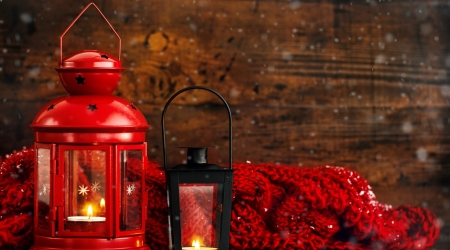 Christmas lantern - winter, red, candle, christmas, holiday, lantern