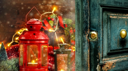 Merry Christmas - candle, red, christmas, holiday, lantern, decoration, winter, door