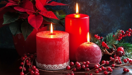 Christmas candles - candle, flame, christmas, holiday, decoration, arrangement, flower, winter, beautiful