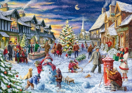 Christmas Village - childern, christmas, snow, people, village, puzzle, woman, happy, ma, times