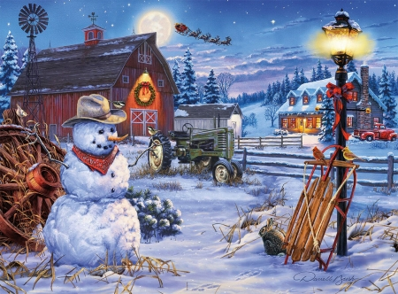 Christmas on the Farm - puzzle, life, country, farm, snowman, winter