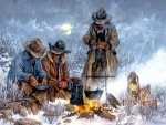 Winter Campfire Cowboys